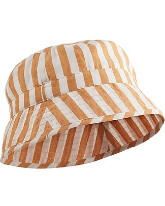 Liewood Jack Bucket Hat, 100% organic cotton - Mustard & Creme de la Creme Stripes Sunhats