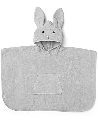 Liewood Orla Poncho Bathrobe, Bunny Dumbo Grey - 100% Organic Cotton Terry Towels And Flannels