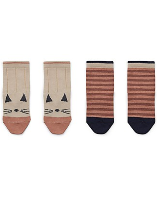 Liewood Silas Socks, Cat/Striped Coral Blush, 2 pack -  Elasticated Cotton Socks