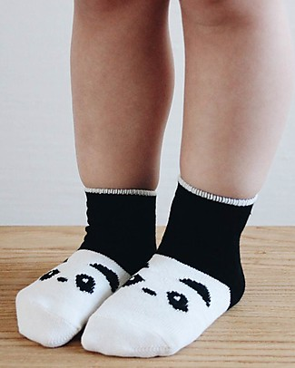 Liewood Silas Socks, Panda Black & White -  Elasticated Cotton Socks