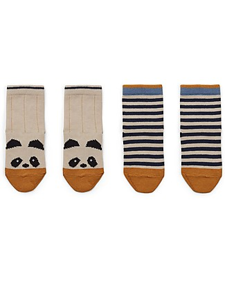 Liewood Silas Socks, Panda/Striped Ecru, 2 pack -  Elasticated Cotton Socks