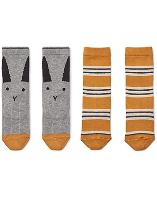 Liewood Sofia Socks, Rabbit/ Striped Mustard, 2 pack - Elasticated Cotton Socks
