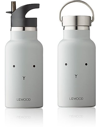Liewood Stainless Steel Kids Thermal Bottle with two lids 350 ml, Rabbit Dumbo Grey  Thermos Bottles