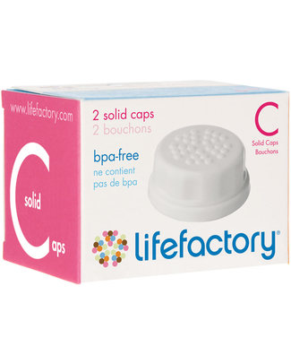 Lifefactory Baby Bottle Flat Cap Set (2 White Caps) Glass Baby Bottles