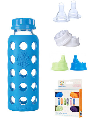 Lifefactory Flat Cap 250ml Glass Bottle with Protective Silicone Sleeve - Ocean Blue Breastmilk Storage Bottles