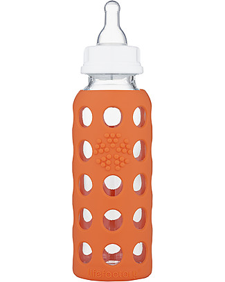 Lifefactory Glass Baby Bottle with Silicone Sleeve - 9 oz/250 ml - Papaya Glass Baby Bottles