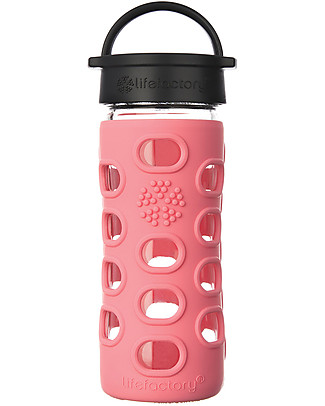 Lifefactory Glass Bottle 350 ml with Classic Cap and Silicone Sleeve, Coral Glass Bottles