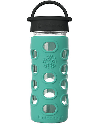 Lifefactory Glass Bottle 350 ml with Classic Cap and Silicone Sleeve, Kale null