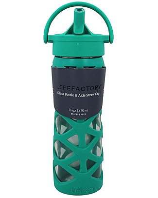 Lifefactory Glass Bottle with Asix Straw Cap and Silicone Sleeve - 16 oz/ 475 ml - Aquatic Green Glass Bottles