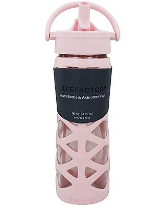 Lifefactory Glass Bottle with Asix Straw Cap and Silicone Sleeve - 16 oz/ 475 ml - Cherry Blossom null