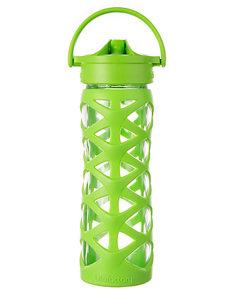 Lifefactory Glass Bottle with Asix Straw Cap and Silicone Sleeve - 16 oz/ 475 ml - Lime Glass Bottles