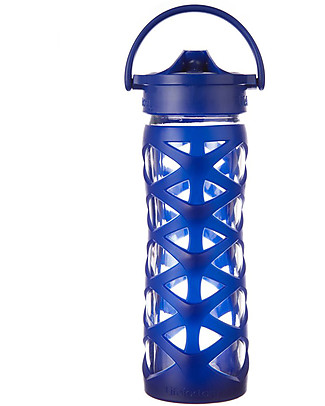 Lifefactory Glass Bottle with Asix Straw Cap and Silicone Sleeve - 16 oz/ 475 ml - Sapphire Glass Bottles