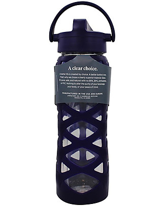 Lifefactory Glass Bottle with Asix Straw Cap and Silicone Sleeve - 22 oz/ 650 ml - Aubergine Glass Bottles