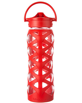 Lifefactory Glass Bottle with Asix Straw Cap and Silicone Sleeve - 22 oz/ 650 ml - Charged Red Glass Bottles