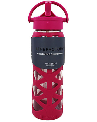 Lifefactory Glass Bottle with Asix Straw Cap and Silicone Sleeve - 22 oz/ 650 ml - Guava Pink Glass Bottles