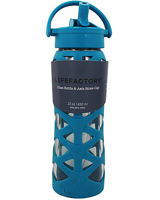 Lifefactory Glass Bottle with Asix Straw Cap and Silicone Sleeve - 22 oz/ 650 ml - Ultramarine Glass Bottles