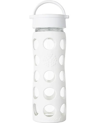 Lifefactory Glass Bottle with Classic Cap and Silicone Sleeve - 16 oz/ 475 ml - White Glass Bottles