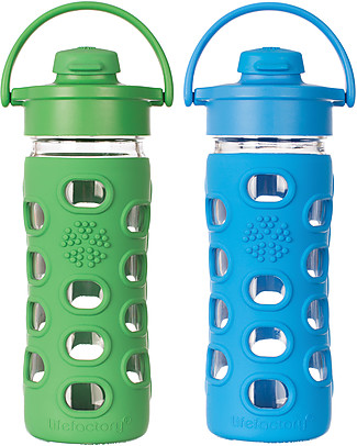 Lifefactory Glass Bottle with Flip Cap and Silicone Sleeve - 12 oz/350 ml - Grass Green Glass Bottles