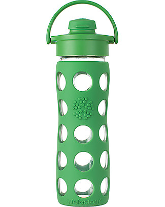 Lifefactory Glass Bottle with Flip Cap and Silicone Sleeve -16 oz/475 ml - Grass Green Glass Bottles