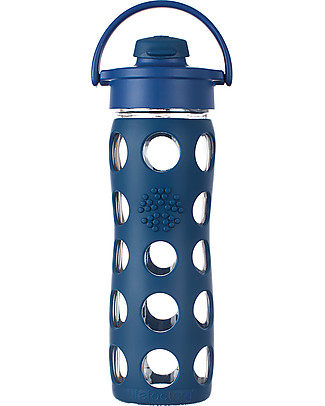 Lifefactory Glass Bottle with Flip Cap and Silicone Sleeve -16 oz/475 ml - Midnight Blue Glass Bottles
