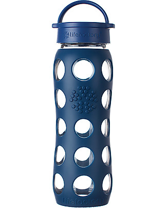 Lifefactory Glass Bottle with Leakproof Cap and Silicone Sleeve - 22 oz/ 650 ml - Midnight Blue Glass Bottles