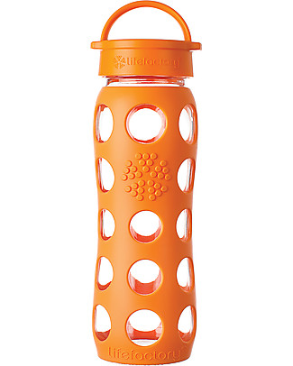 Lifefactory Glass Bottle with Leakproof Cap and Silicone Sleeve - 22 oz/ 650 ml - Orange Glass Bottles