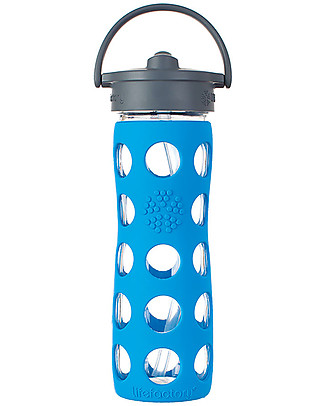 Lifefactory Glass Bottle with Straw Cap and Silicone Sleeve - 16 oz/ 475 ml - Ocean Blue Glass Bottles