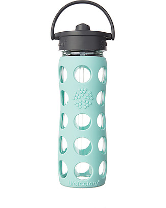 Lifefactory Glass Bottle with Straw Cap and Silicone Sleeve - 16 oz/ 475 ml - Turquoise Glass Bottles