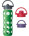 Lifefactory Glass Bottle with Straw Cap and Silicone Sleeve - 22 oz/ 650 ml - Grass Green Glass Bottles