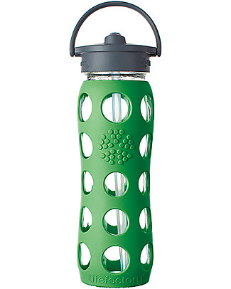 Lifefactory Glass Bottle with Straw Cap and Silicone Sleeve - 22 oz/ 650 ml - Grass Green null