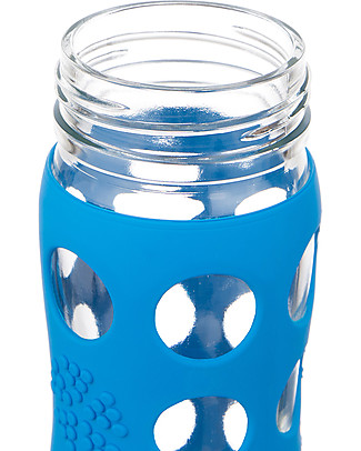 Lifefactory Glass Bottle with Straw Cap and Silicone Sleeve - 22 oz/ 650 ml - Ocean Blue Glass Bottles
