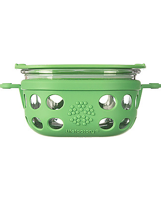 Lifefactory Heat Resistant Glass Food Container 240ml - Green null
