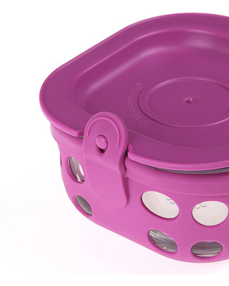 Lifefactory Heat Resistant Glass Food Container 240ml - Purple Glass Food Containers