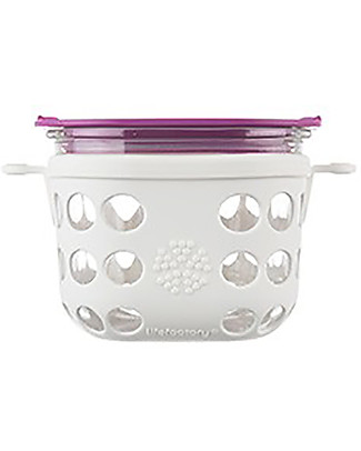 Lifefactory Heat Resistant Glass Food Container 475ml - Whire/Huckleberry Glass Food Containers