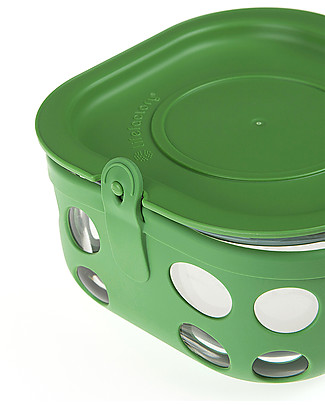 Lifefactory Heat Resistant Glass Food Container 950ml - Green Glass Food Containers