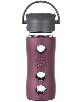 Lifefactory Insulated Glass Bottle - Mug To Go with Keep Warm Insulating Sleeve - 350 ml / 12oz - Plum Glass Bottles