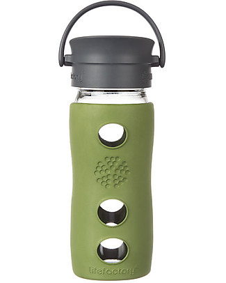 Lifefactory Insulated Glass Bottle - Mug To Go with Keep Warm Insulating Sleeve - Sage - 350 ml / 12oz Glass Bottles