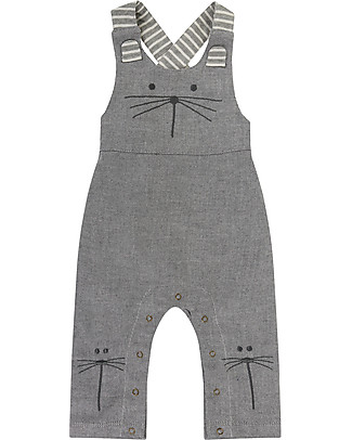 Lilly+Sid Baby Dungaree, Character Mouse - 100% Organic Cotton Dungarees