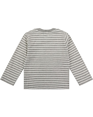 Lilly+Sid Baby Long Sleeve Top, Grey Stripe - 100% Organic Cotton Long Sleeves Tops
