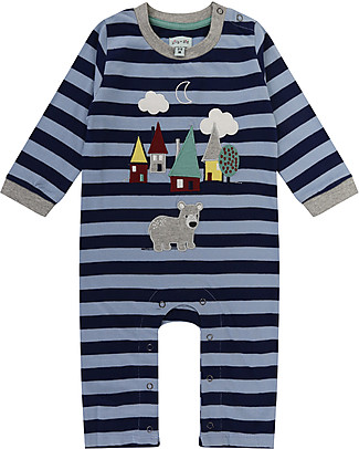 Lilly+Sid Baby Playsuit with Long Sleeves, Bear House Applique - 100% organic Cotton Rompers