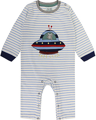 Lilly+Sid Baby Playsuit with Long Sleeves, Ufo Applique - 100% Organic Cotton Rompers