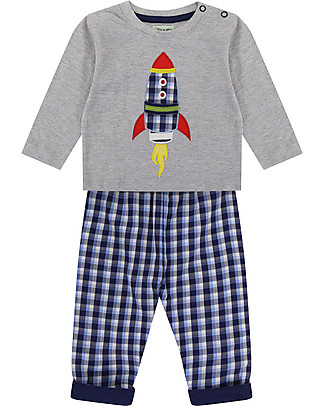 Lilly+Sid Baby Reversible Trousers and Top Set, Rocket - 100% Organic Cotton Rompers