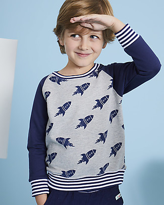 Lilly+Sid Boy Sweatshirt, Rocket - 100% Organic Cotton Sweatshirts