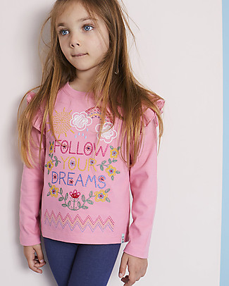Lilly+Sid Long Sleeve Top with Frills, Follow your dreams - 100% Organic Cotton Long Sleeves Tops
