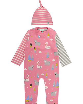 Lilly+Sid Playsuit and Hat Set, Swan Print - 100% Cotton Rompers