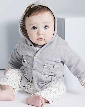 Lilly+Sid Reversible Sweat Jacket, Mouse - 100% Organic Cotton Jackets