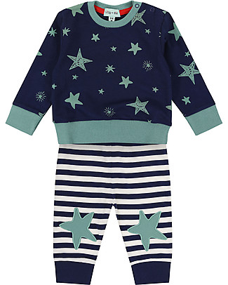 Lilly+Sid Sweatshirt and Joggers Set, Star Print - 100% Organic Cotton Rompers