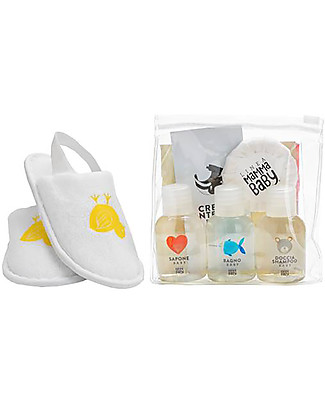 Linea Mamma Baby Courtesy Line, A Selection of Products in a Clutch Bag - Try them all! Kit Toilette Baby