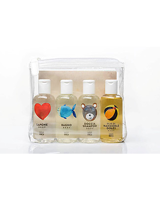 Linea Mamma Baby Set of 4 Travel Wash - Set in Clutch Bag (100ml) Baby Bath Wash and shampoo