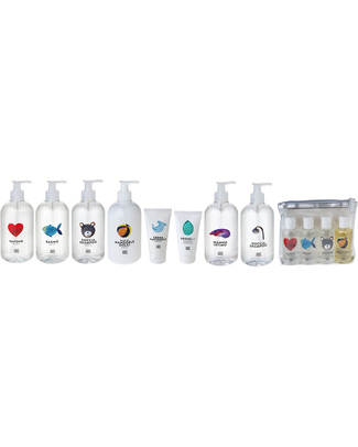 Linea Mamma Baby Set of 4 Travel Wash - Set in Clutch Bag (100ml) Shampoos And Baby Bath Wash